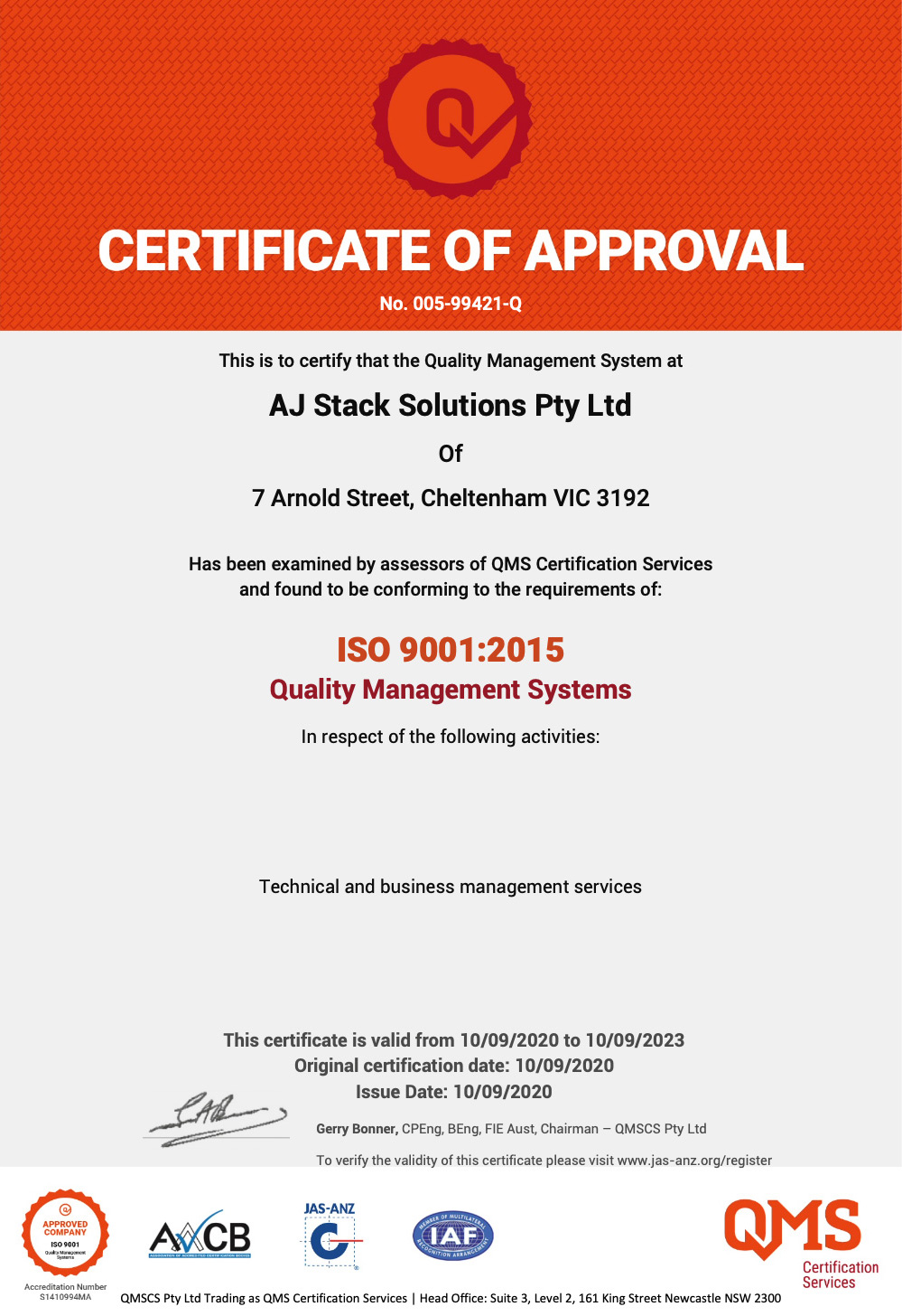 AJSS Awarded ISO 9001:2015  Certification